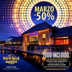 "Si eres amante de @hardrockpuntacana entonces esta promoción de Marzo -50% es para ti:  Locación: #hardrockpuntacana  Válido para reservar: 01 AL 30 DE #marzo 2016  Válido para viajar: 01 DE #marzo AL 20 DE #diciembre  Incluye : Promoción valida Mínimo 3 noches. Aplica para MENORES  PROMOCIÓN ""TODO INCLUIDO"" #reposter #republicadominicana #descuento #vip #travel #isla #caribbean #phototheday "