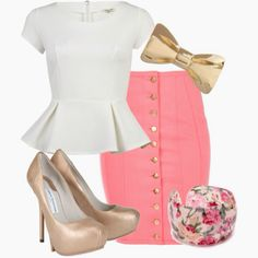 Pencil skirt outfit - peplum and pencil skirt; what a great combo. Without the bow and braclet tho