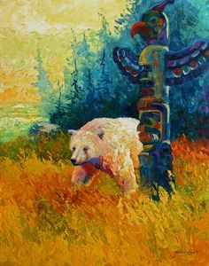 Kindred Spirits - Kermode Spirit Bear Painting by Marion Rose - Kindred Spirits - Kermode Spirit Bear Fine Art Prints and Posters for Sale