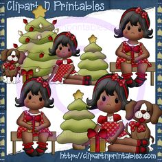 Christmas Time Girls 2 AA- #Clipart #ResellableClipart #ResellerClipart #Christmas #Girls #ChristmasTree #Star #ChristmasLights #Dog #Puppy #Bench #Gifts #Presents