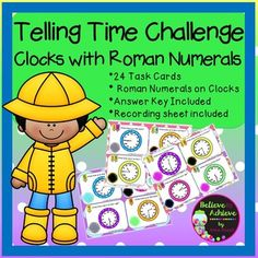 Telling Time Challenge with Roman Numerals (24 task cards)  This colorful set of 24 task cards with telling time practice with Roman Numerals! This will be a fun challenge for students and a a wonderful addition to your lessons! I've included a recording sheet and answer key, too!