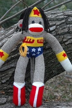 Wonder Woman sock monkey! She would play well with our punk rock girl sock monkey.