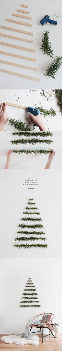35 Lovely and Fancy Christmas Wall Decor Ideas, Bring The Joy to Your Special Day Diy Christmas Tree, Simple Christmas, Christmas Projects, Christmas Holidays, Christmas Ornaments, Modern Christmas, Minimalist Christmas, Christmas 2017, Xmas Tree