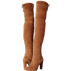 Stuart Weitzman Highland (Toffee Suede) Women's Dress Pull-on Boots (£620) ❤ liked on Polyvore featuring shoes, boots, over-the-knee boots, stretch suede over the knee boots, suede boots, suede thigh-high boots, stuart weitzman over the knee boots and faux suede over the knee boots