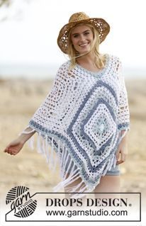 "Poncho DROPS lavorato all'uncinetto in ""Paris"". Taglia unica. ~ DROPS Design"