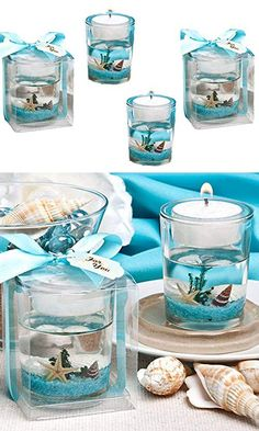 Stunning Beach-themed Candle Favor can find Beach themes and more on our website. Beach Themed Crafts, Beach Crafts, Diy Resin Crafts, Fun Diy Crafts, Sewing Crafts, Water Candle, Gel Candles, Candle Wax, Glass Candle