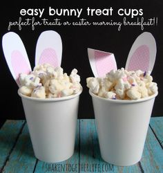 Easy Easter bunny treat cups - they even have fluffy tails! would be good drizzled with chocolate or with Easter M Easter Crafts To Make, Easter Crafts For Adults, Holiday Crafts, Holiday Fun, Diy Crafts, Bunny Crafts, Party Fiesta, Festa Party, Bunny Party