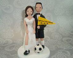 Calcio su misura tema Wedding Cake Topper di mudcards su Etsy