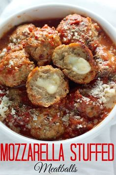 30-Minute Mozzarella Stuffed Turkey Meatballs with Homemade Marinara Sauce. #dinner_ideas