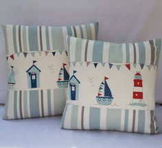 "Nautical Pillow Cover Beach Huts Handmade Fabric Cushion cover and Fryetts ""Maritime"" and Clarke & Clarke"" Nova Stripe"" Applique Cushions, Patchwork Cushion, Sewing Pillows, Cushion Fabric, Linen Fabric, Nautical Pillow Covers, Nautical Cushions, Red Pillows, Throw Pillows"