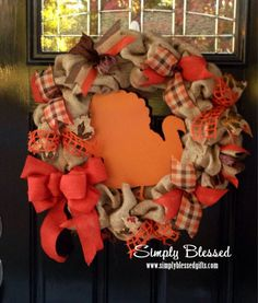 Burlap Fall Wreath with Wooden Turkey in the center - Thanksgiving - Orange