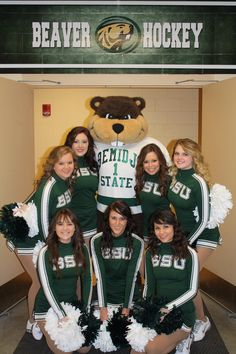 Bemidji State Hockey cheerleaders and Bucky