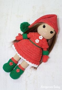 Christmas Ellie Doll - Free crochet pattern by Amigurumi Today