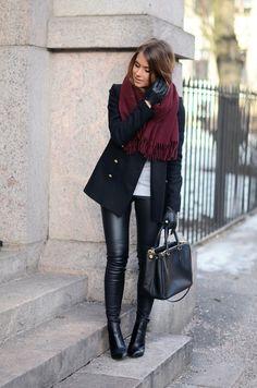 rose scarf black jacket white tee top black leather leggings black boots or shooties