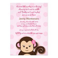 Girl Monkey Theme Baby Shower | Monkey Girl Baby Shower Invitations
