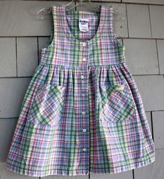 VTG Heavy Cotton Pastel Plaid Toddler Jumper Dress with Pockets - SZ. 4T. $8.99, via Etsy.