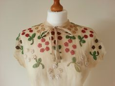 Beautiful 1930s silk tulle top with crochet detail