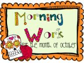 Morning Activities for the month of October product from Bedford-Love-Teaching on TeachersNotebook.com