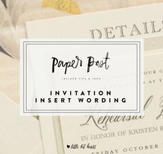 Everything you need for your wedding invitation insert wording, from the RSVP card to the information card.