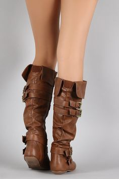 Shop the Belted Slouchy Vegan Leather Flat Knee High Boot featuring slouchy vegan leather, cuffed collar, elastic gusset, and decorative belts around shaft and ankle. Riding Boots, Combat Boots, All About Shoes, Dress With Boots, Leather Flats, Knee High Boots, Vegan Leather, Heeled Boots, Shoes Heels