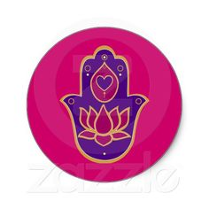 Henna Hamsa Lotus Pink Round Stickers