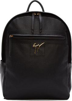 Giuseppe Zanotti Black Leather Logo Backpack