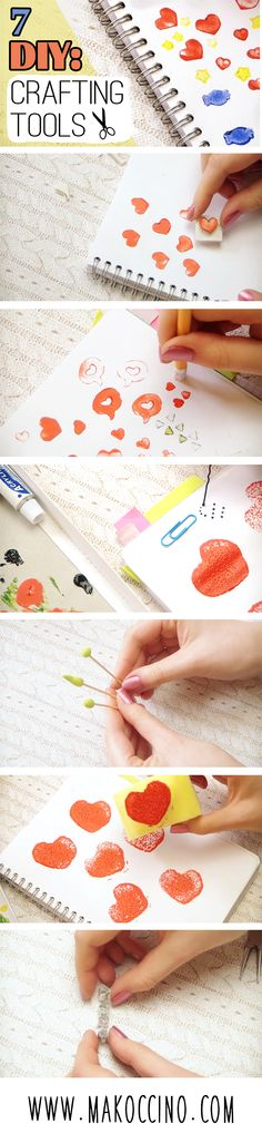 DIY 7 different crafting tools: stamps, mini cutter and dotting tools for crafting