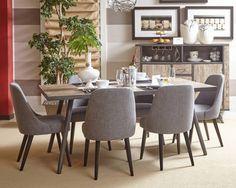 American Retrospective Modern 7pc Dining Room Set w/Rectangle Table