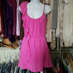 Cutest pink dress Pink dress with white polka dots so cute...size M Dresses