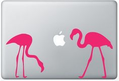 Flamingos laptop DECAL- macbook iPad computer- Gadget Art / Accessory - pink flying zoo  Geek Chic perfect gift. $10.00, via Etsy.