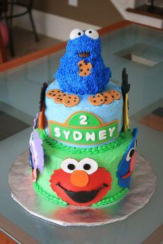 Children's Birthday Cakes - Sesame Street birthday cake - all fondant details