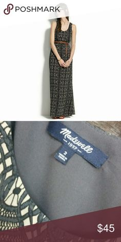 Madewell Dress Long lace laser print dress in a charcoal and cream.  I'm 5'3 and need to wear platform wedges with it. It would be really dragging the ground on me in flats. In great condition. No signs of wear. Madewell Dresses