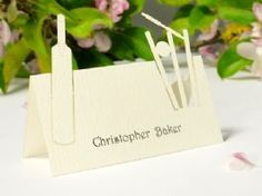 Ivory Howzat! Ivory Cricket Theme Place Card with Individual Guest Name Printing (Each)
