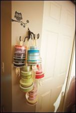 Best Totally Free wired Ribbon Storage Concepts Between the many craziness connected with renovation our kitchen, I am working away at decluttering Curtain Rod Holders, Window Curtain Rods, Fly Fishing Line, Picture Wire, Ribbon Storage, Storage Spaces, Storage Ideas, Orange And Turquoise, Wonderful Picture