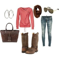 love the chocolate brown with the coral.....brings the outfit together with this combo