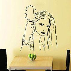 GIRL WALL DECALS WITH ROCK GUITAR DECAL VINYL STICKER BEDROOM MURAL DECOR N351