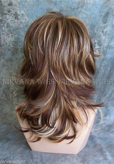 3Tone Deep Auburn/Copper/Blonde Multi layers Med/Long Nirvana Sarah Wig