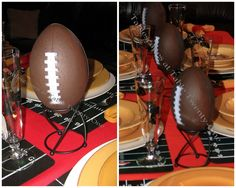 Football Tablescape – Kansas City Chiefs in the Red Zone Football Banquet, Football Tailgate, Football Themes, Raiders Football, Football Wedding, Tailgating, American Football, Football Centerpieces, Football Celebrations