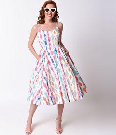 Retro White & Multi Diamond Priscilla Miami Midi Swing Dress