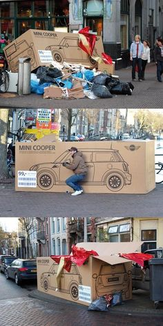 MINI Cooper's Ambient and Guerilla Marketing Ads Mini Cooper - Street & Ambient Marketing. I would totally be the guy pretending to drive the box. I would totally be the guy pretending to drive the box. Street Marketing, Guerilla Marketing, Experiential Marketing, Viral Marketing, Creative Advertising, Guerrilla Advertising, Print Advertising, Print Ads, Ads Creative