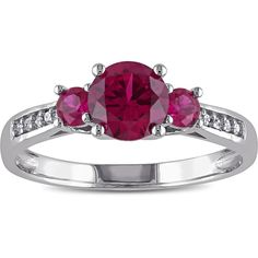 Miadora 10k White Gold Created Ruby Diamond Accent 3-stone Ring ($169) ❤ liked on Polyvore featuring jewelry, rings, red, white gold band ring, long rings, pave band ring, three stone ring and white gold ruby ring