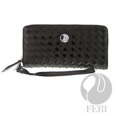 """FERI Midnight Ice - Wallet  - Crafted with a basket weave black soft leather - FERI custom lining - Detachable wrist band - Slots for credit cards and personal information - Zippered coin holder with a FERI charm - Dimension 4""""W x 7.5""""L  FERI Midnight Ice wallet combines femininity with elegance and practicability.   Invest with confidence in FERI Designer Lines."""
