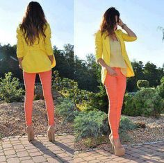 Spring has sprung. Yellow jacket and pink pants. ::M::