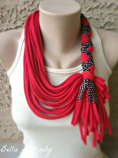 Bella Infinity Braided Scarf Jersey Fabric Red UpCycled Tshirts Black White Polka Dot Colorful Chic Fun