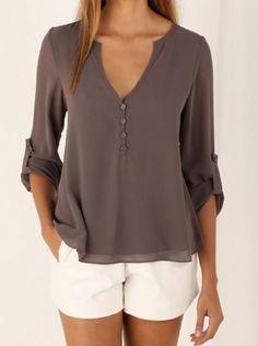 Charlee Cooper V Neck Long Sleeved Chiffon Blouse Plus Sizes