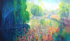 A Kind of Magic is a large oil on canvas painting of an exuberant river landscape with a kingfisher bird that celebrates the beauty of summer 2020 in Sussex. River Painting, Large Painting, Oil Painting On Canvas, Canvas Art, Original Art, Original Paintings, A Kind Of Magic, Patterns In Nature, Nature Paintings