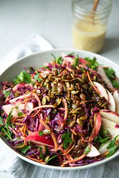 Fall Slaw w/ Miso-Ginger Dressing + Tamari Pumpkin Seeds - The Green Life