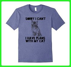 Mens Sorry I can't I Have Plans With My Cat Mens Ladies T-Shirt Small Heather Blue - Animal shirts (*Amazon Partner-Link)