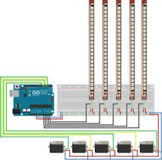 [Project 15] - 5 Flex- Bend Sensor + 5 Servo Motor + Arduino12