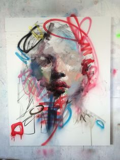 Ryan Hewett-combined graffiti-like art with paint - PaintinG Abstract Portrait Painting, Portrait Art, Acrylic Face Painting, Painting Clouds, Portrait Ideas, Inspiration Art, Art Inspo, Portrait Inspiration, Arte Horror